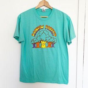 Vintage rainbow forest tree teal t-shirt M